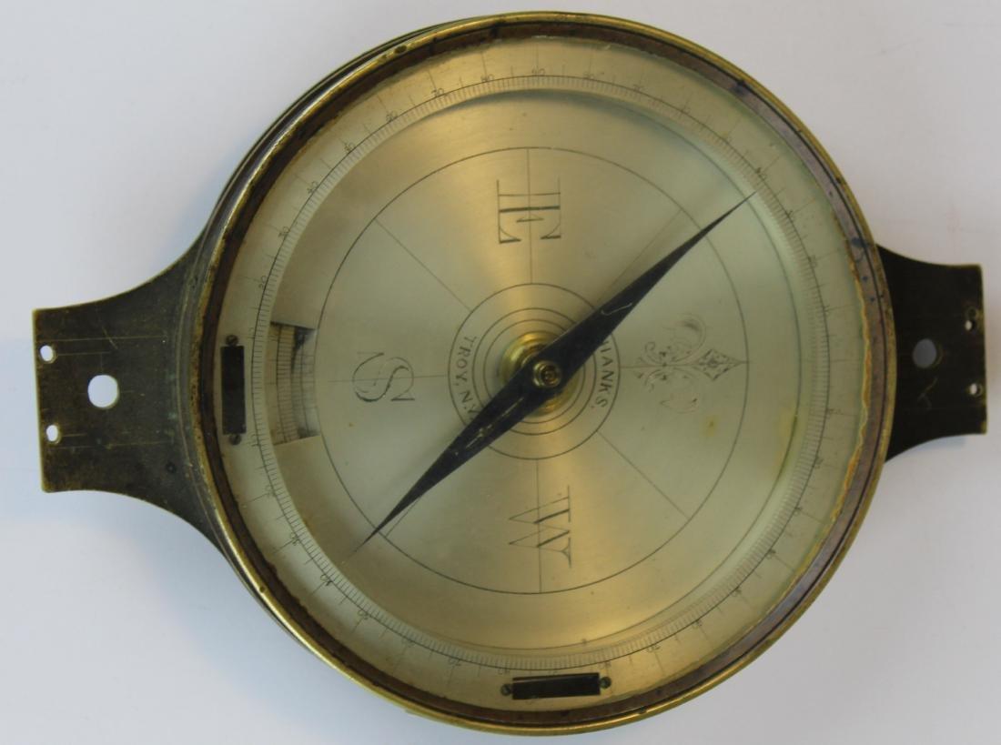 Hanks, Troy, NY brass surveyor's compass
