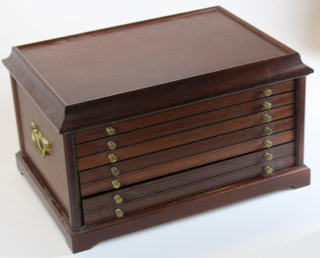 late 20th c mahogany collector's chest