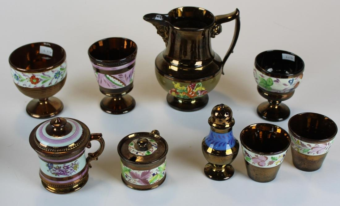 nine early 19th c copper lustre pieces