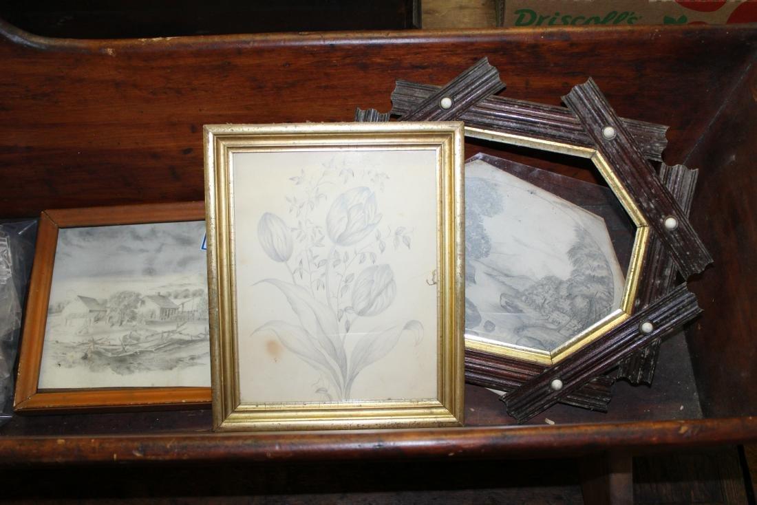 three mid 19th c pencil sketches