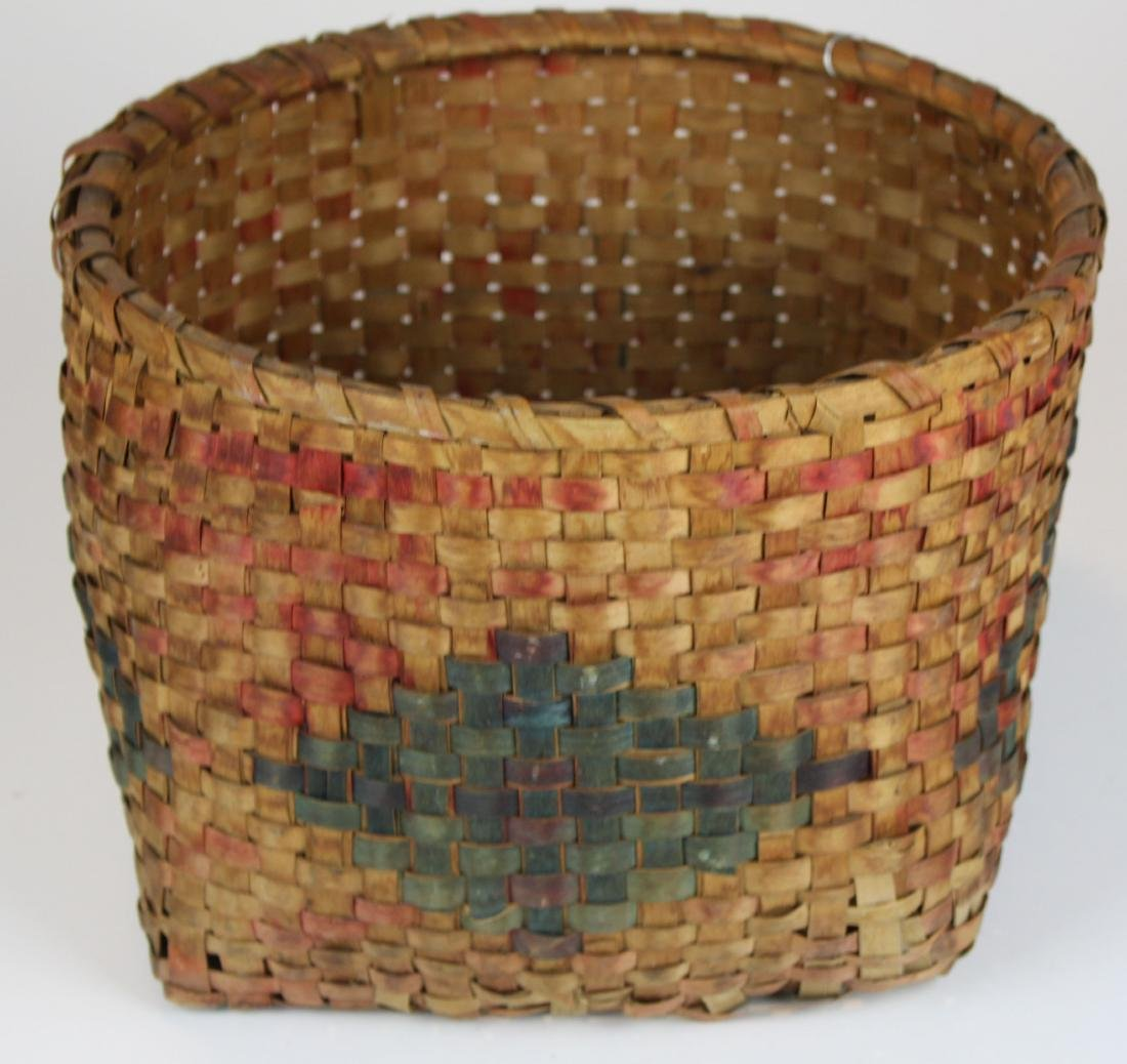 19th c paint decorated basket