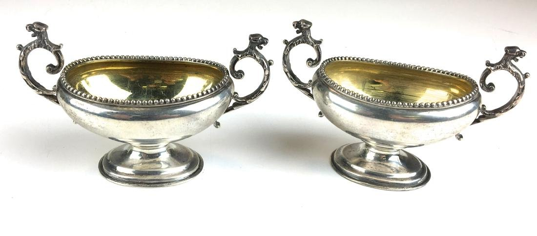 Pair of gold washed dog head master salts