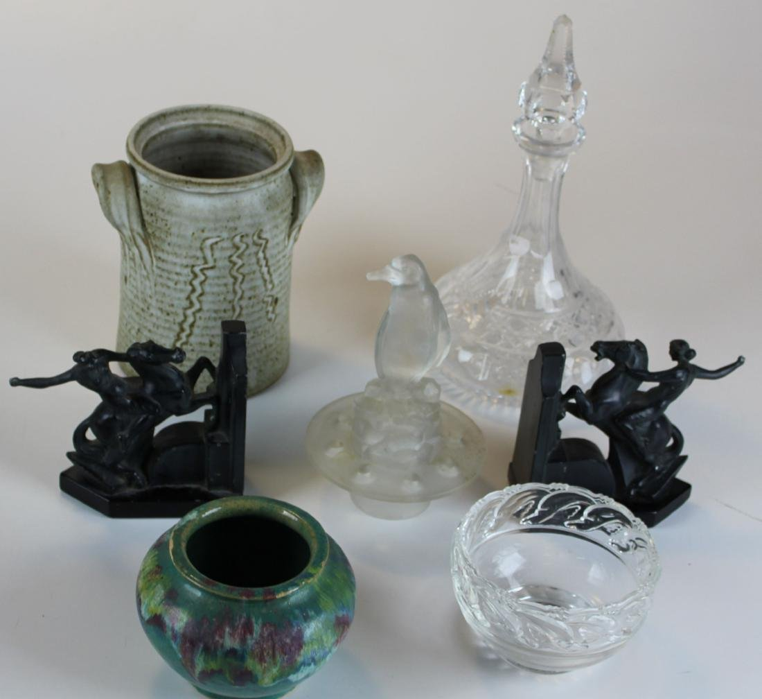 lot of art glass and art pottery
