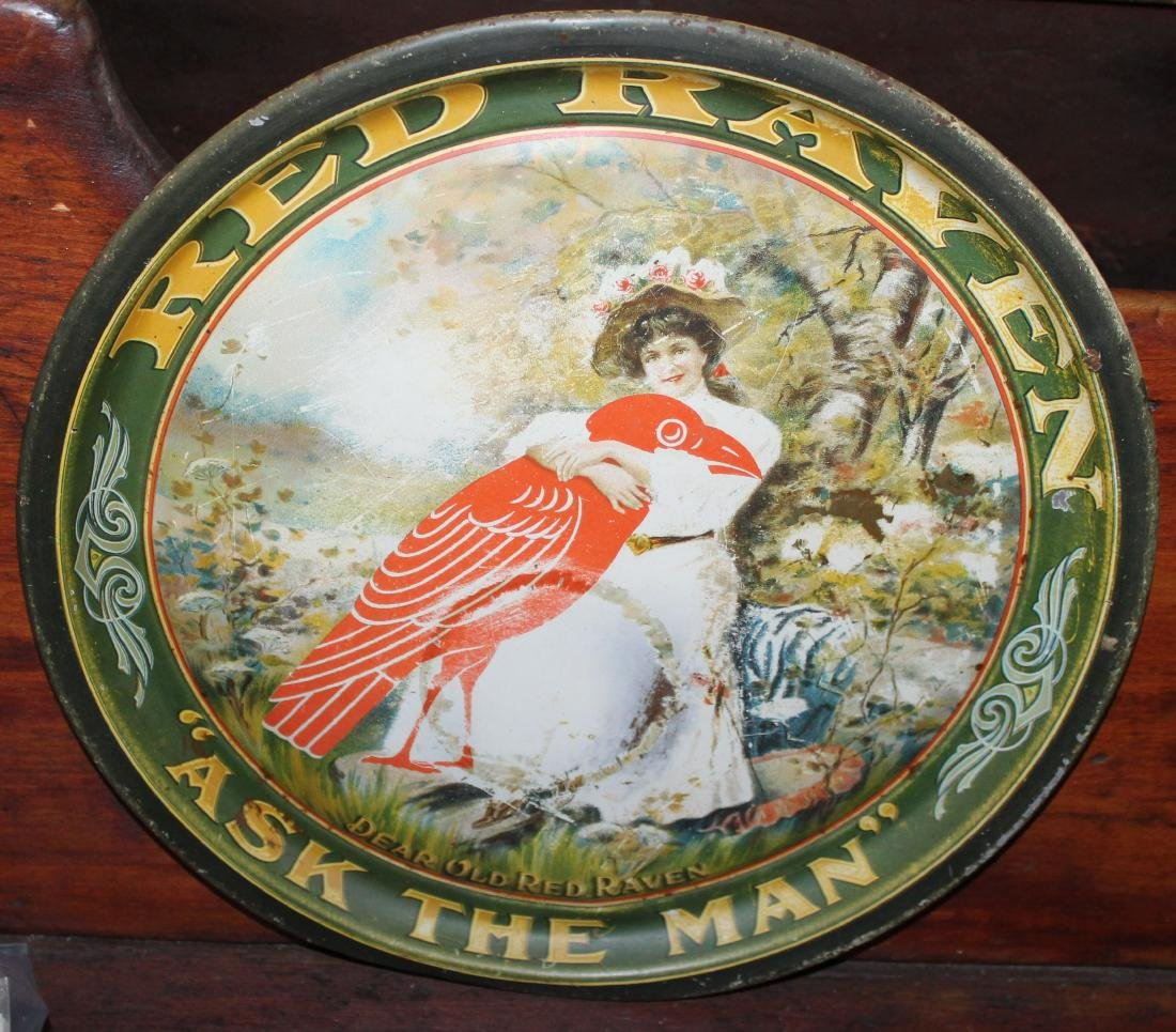 vintage Red Raven tin beer tray