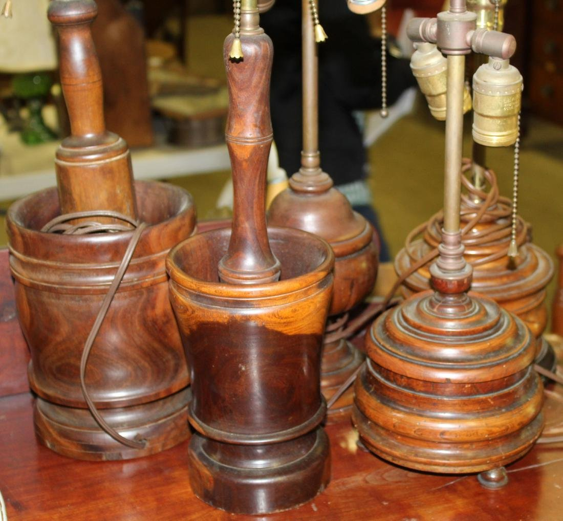5 treenware lamps incl. mortar and pestle