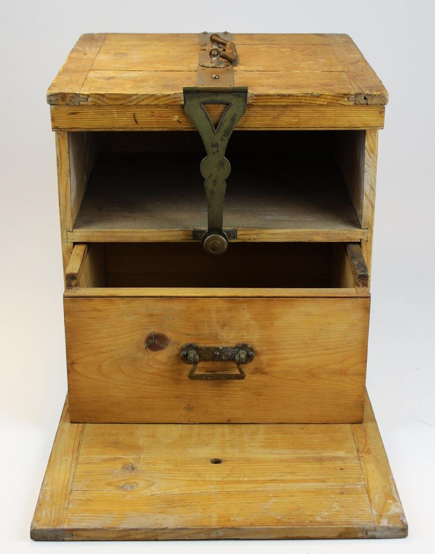 1900 brass bound oak box with interior drawer