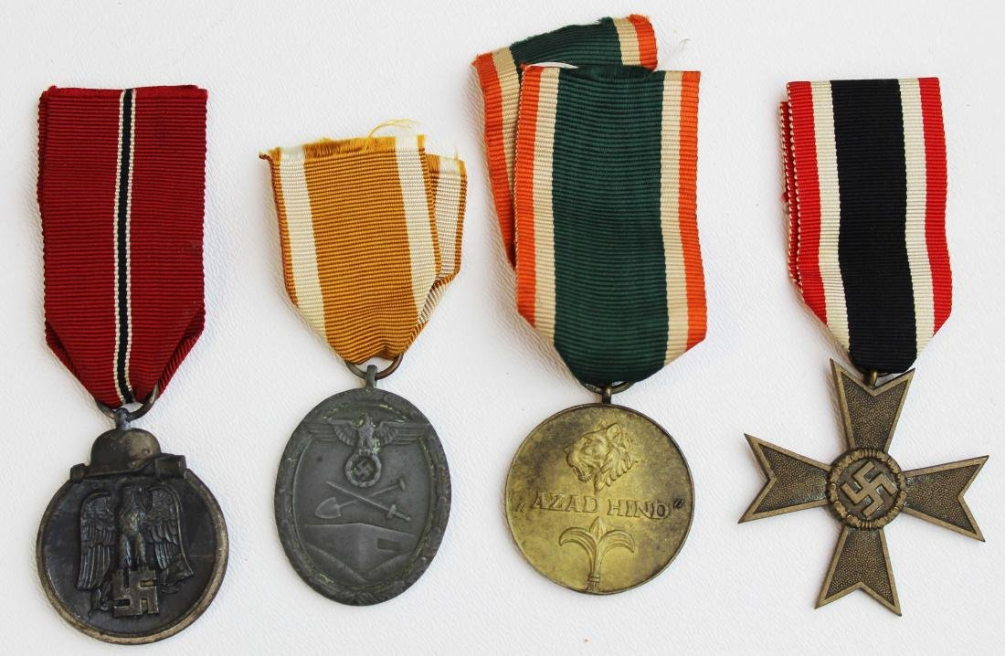 four WWII German medals with ribbons