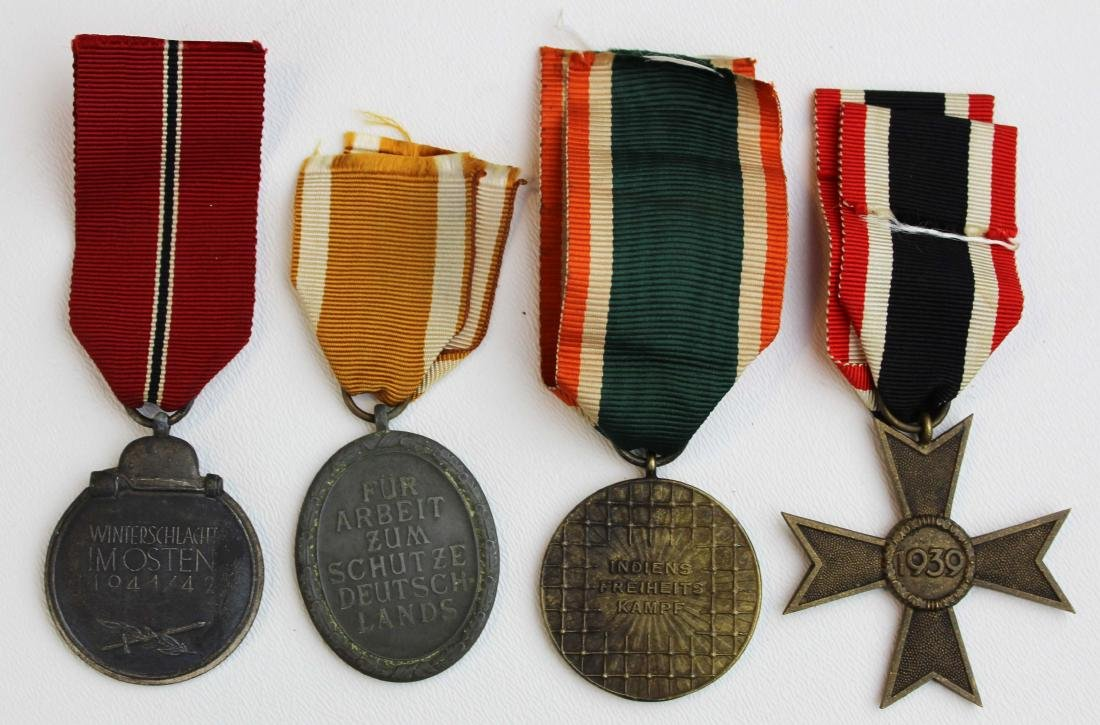 four WWII German medals with ribbons - 2