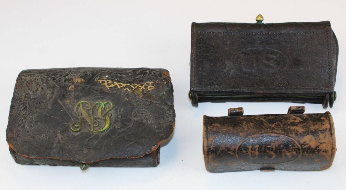 three Civil War US cartridge boxes