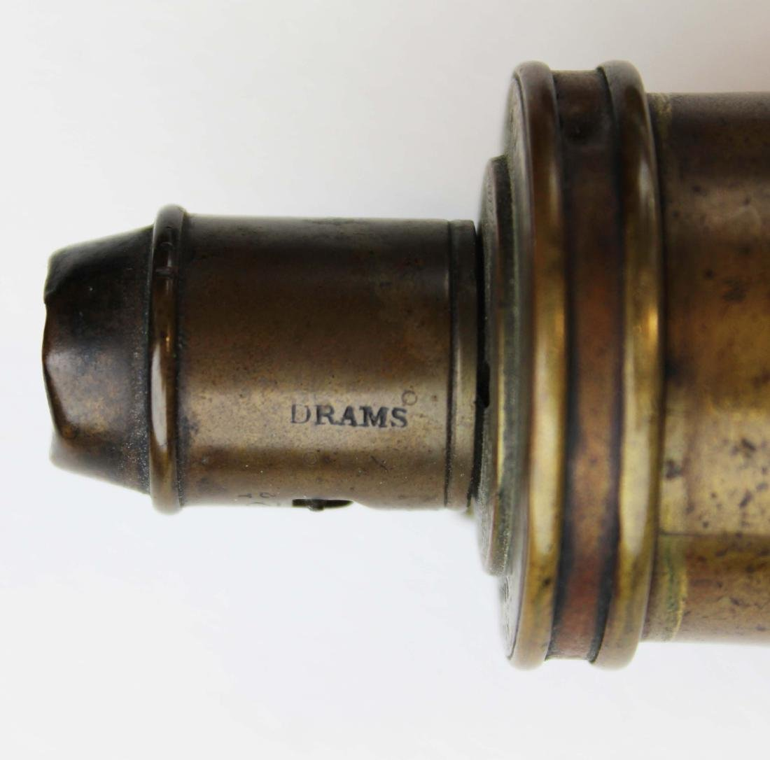 19th c brass powder, pistol flasks - 4