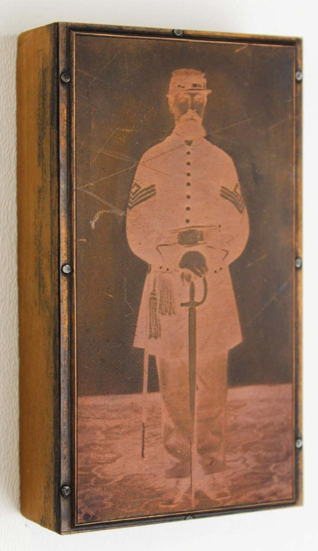 19th c copper printing plate of Civil War Sgt.