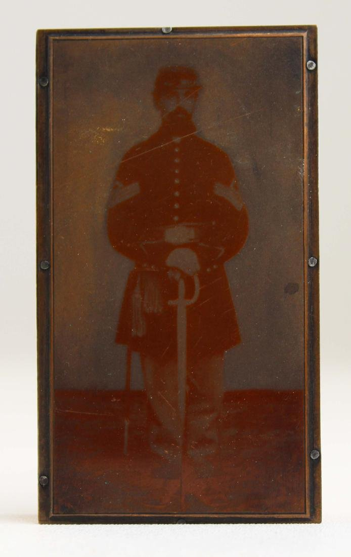 19th c copper printing plate of Civil War Sgt. - 2