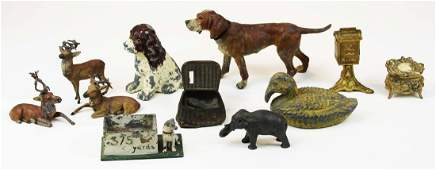 cast white metal animal figures desk items
