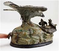 Eagle  eaglets cast iron mechanical bank