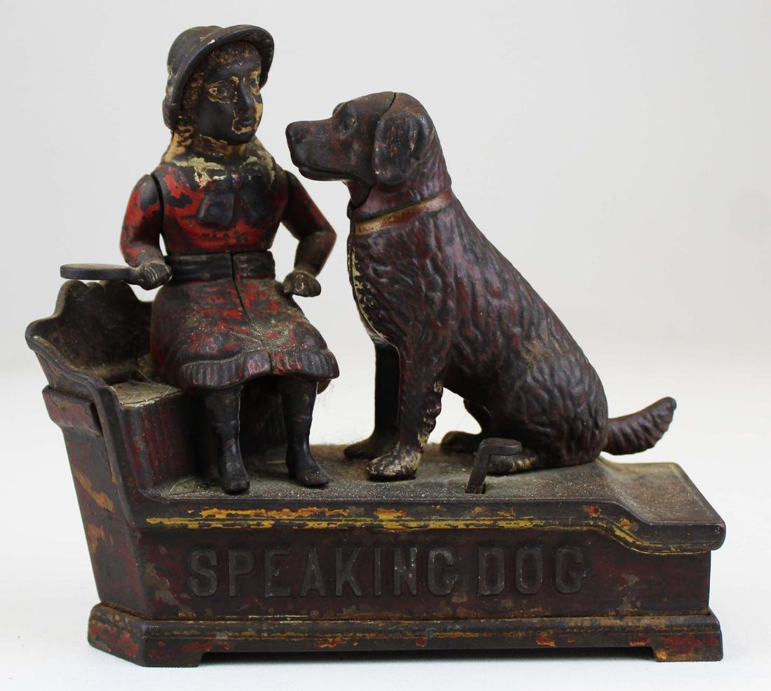 1885 Speaking Dog cast iron mechanical bank
