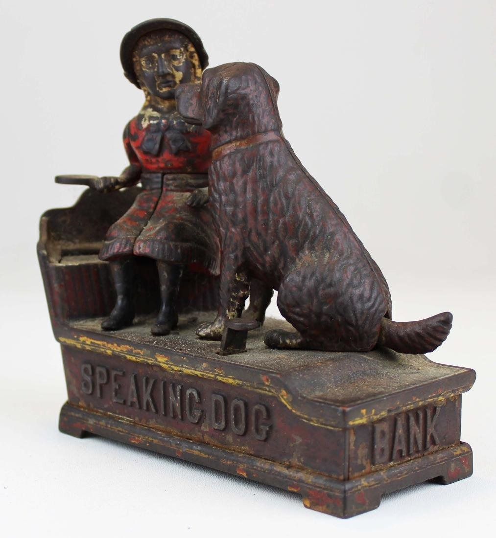 1885 Speaking Dog cast iron mechanical bank - 2