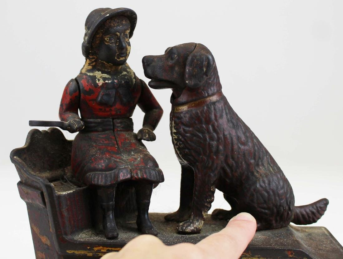 1885 Speaking Dog cast iron mechanical bank - 7