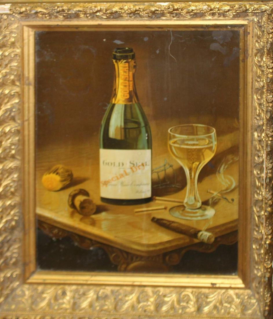 Gold Seal Champagne tin litho advertising sign