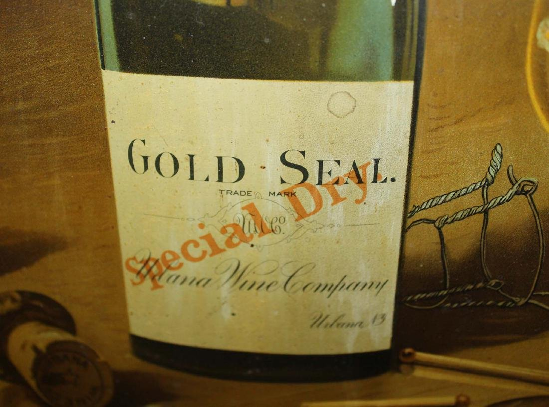 Gold Seal Champagne tin litho advertising sign - 2