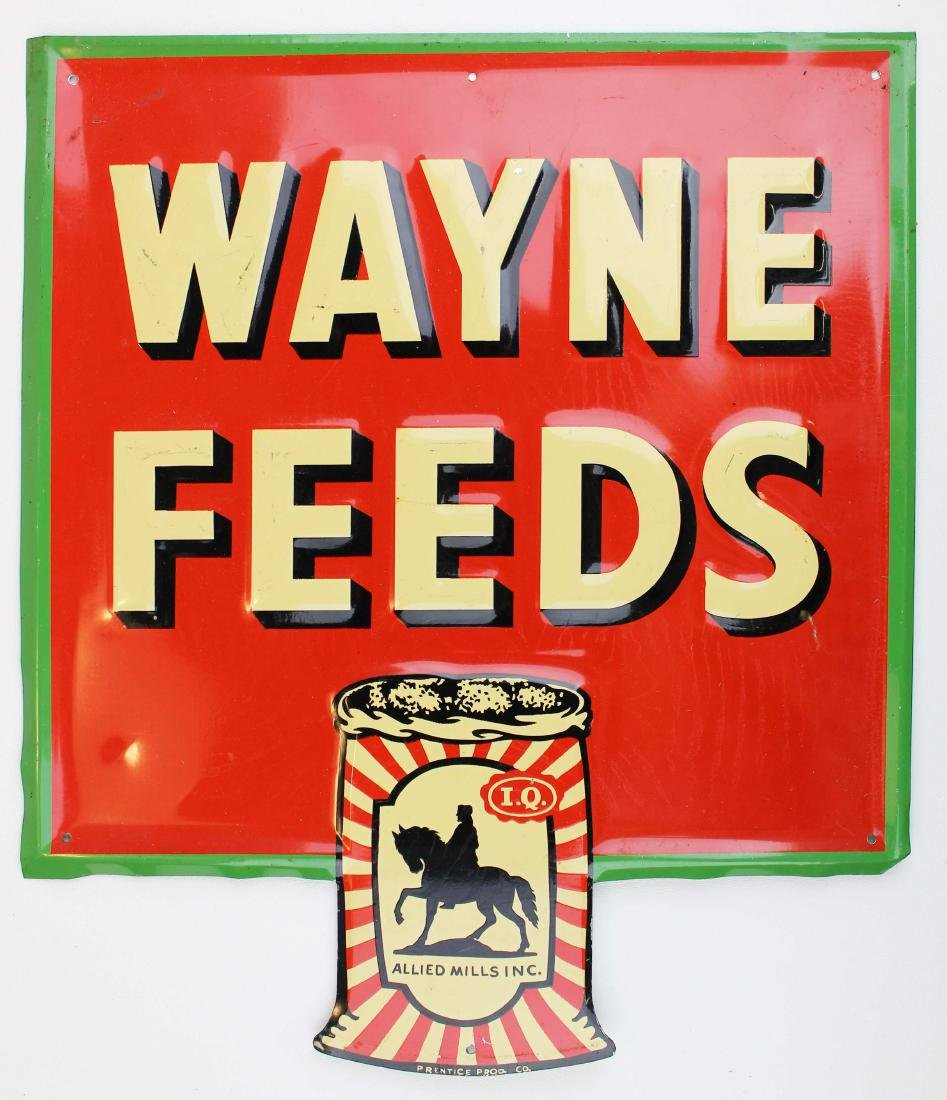 Wayne Feeds embossed tin litho sign