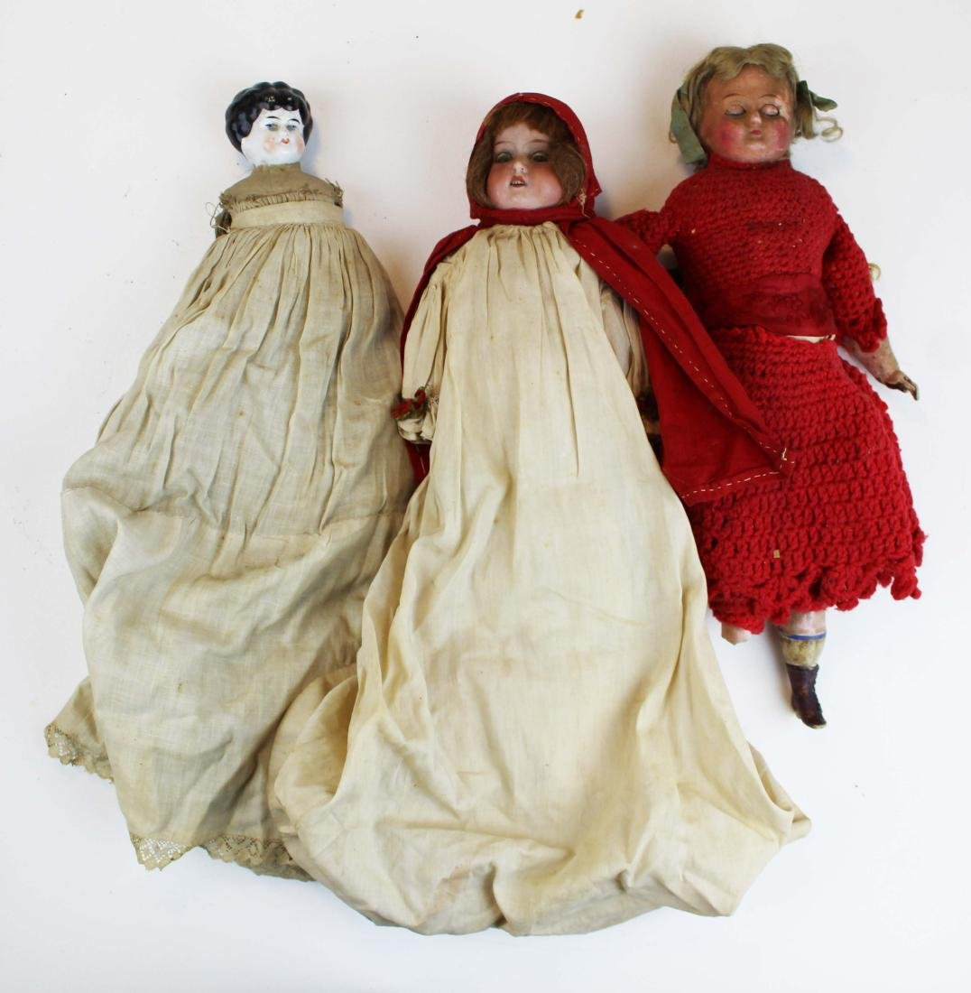 mid 19th c wax & china head & two dolls