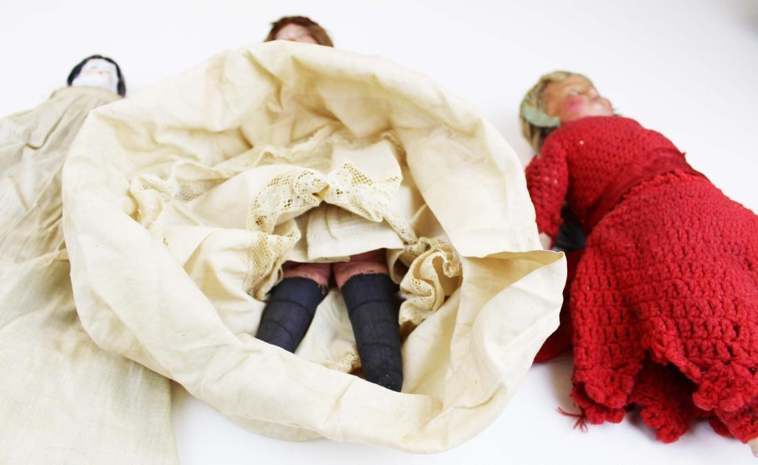 mid 19th c wax & china head & two dolls - 4