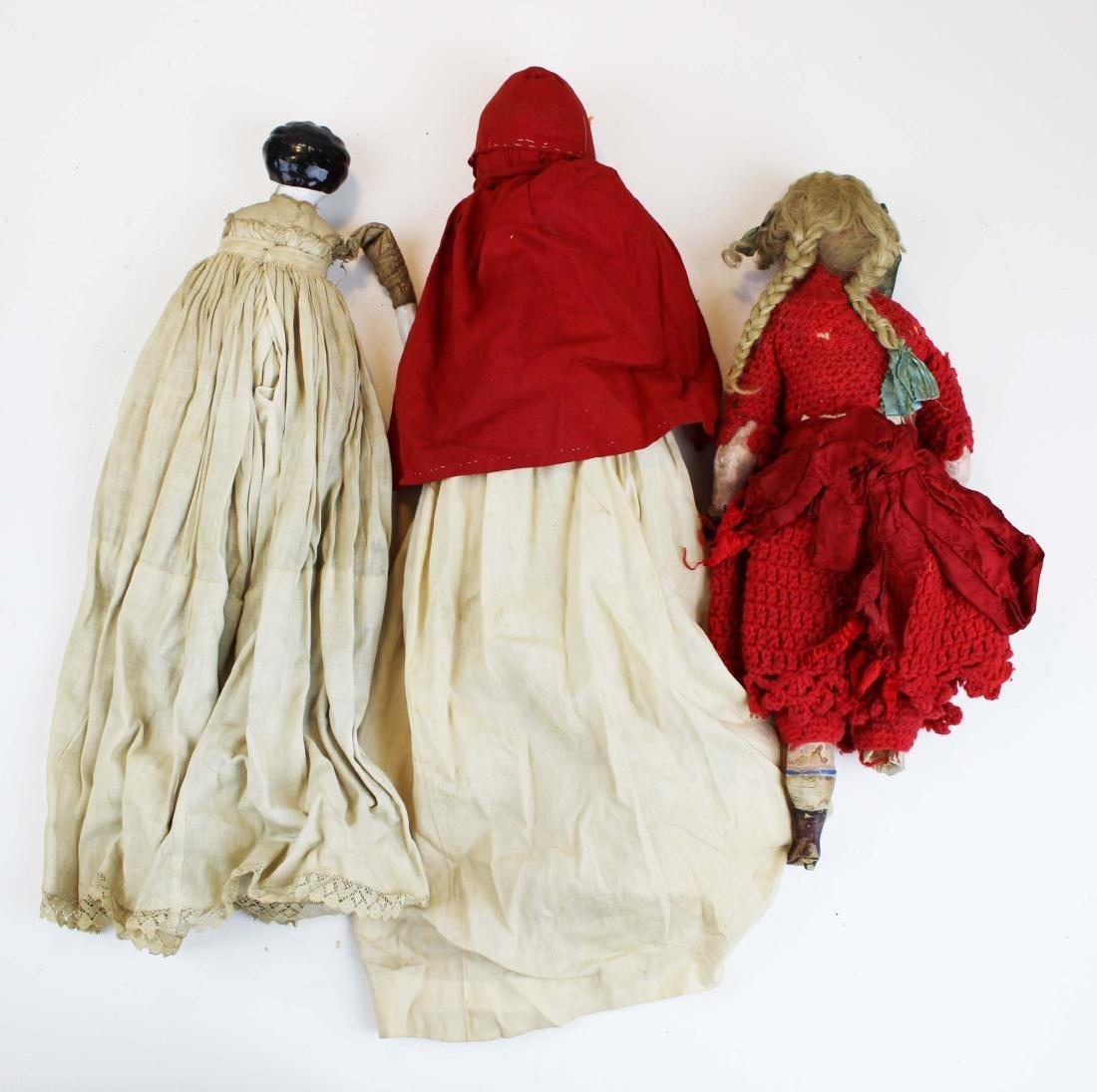 mid 19th c wax & china head & two dolls - 8