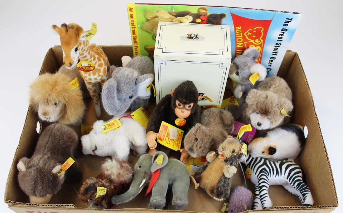 fifteen Steiff plush toys with original tags