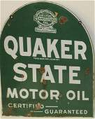 Quaker State Tombstone porcelain sign
