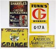 4 tin vintage farm signs