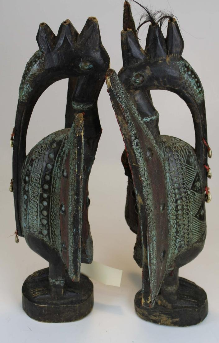 Pair of Senufo Carved Bird figures - 2
