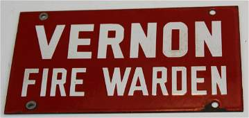 Vernon, VT Fire Warden porcelain sign