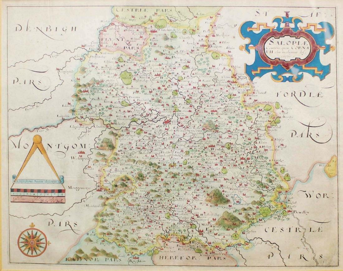 Christopher Saxton 1607 Map of Shropshire