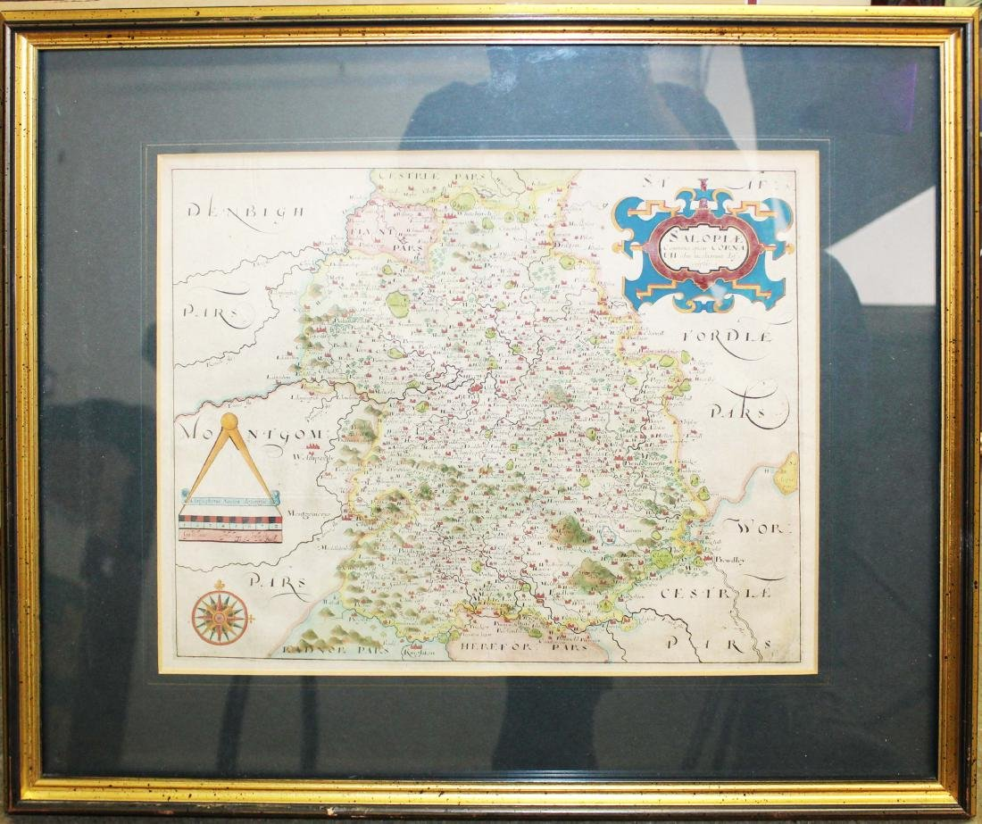 Christopher Saxton 1607 Map of Shropshire - 2