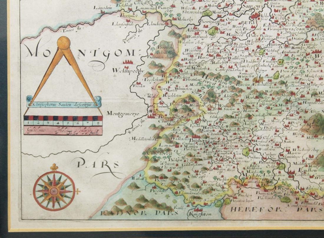 Christopher Saxton 1607 Map of Shropshire - 4