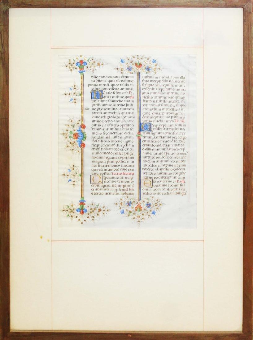 ca 1470 finely illuminated missal leaf on vellum