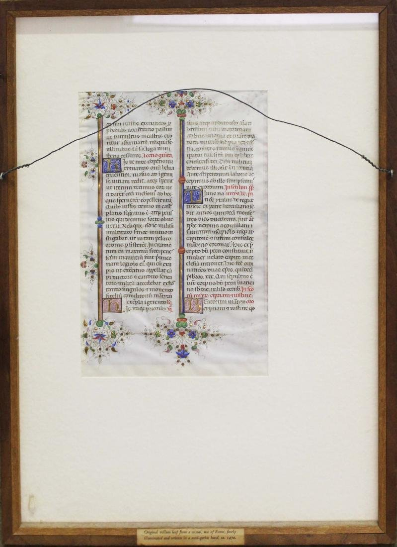 ca 1470 finely illuminated missal leaf on vellum - 2