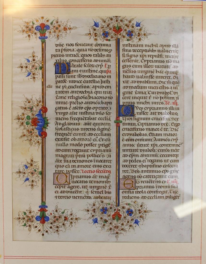ca 1470 finely illuminated missal leaf on vellum - 3