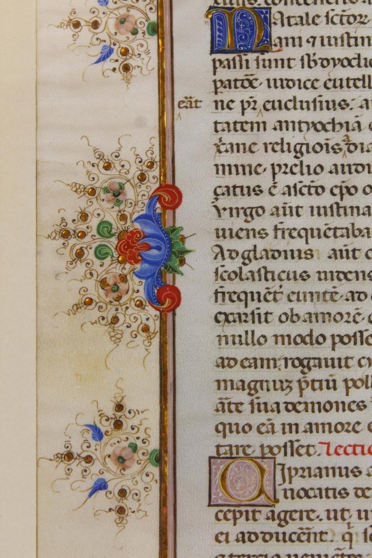 ca 1470 finely illuminated missal leaf on vellum - 4