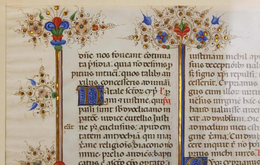 ca 1470 finely illuminated missal leaf on vellum - 5