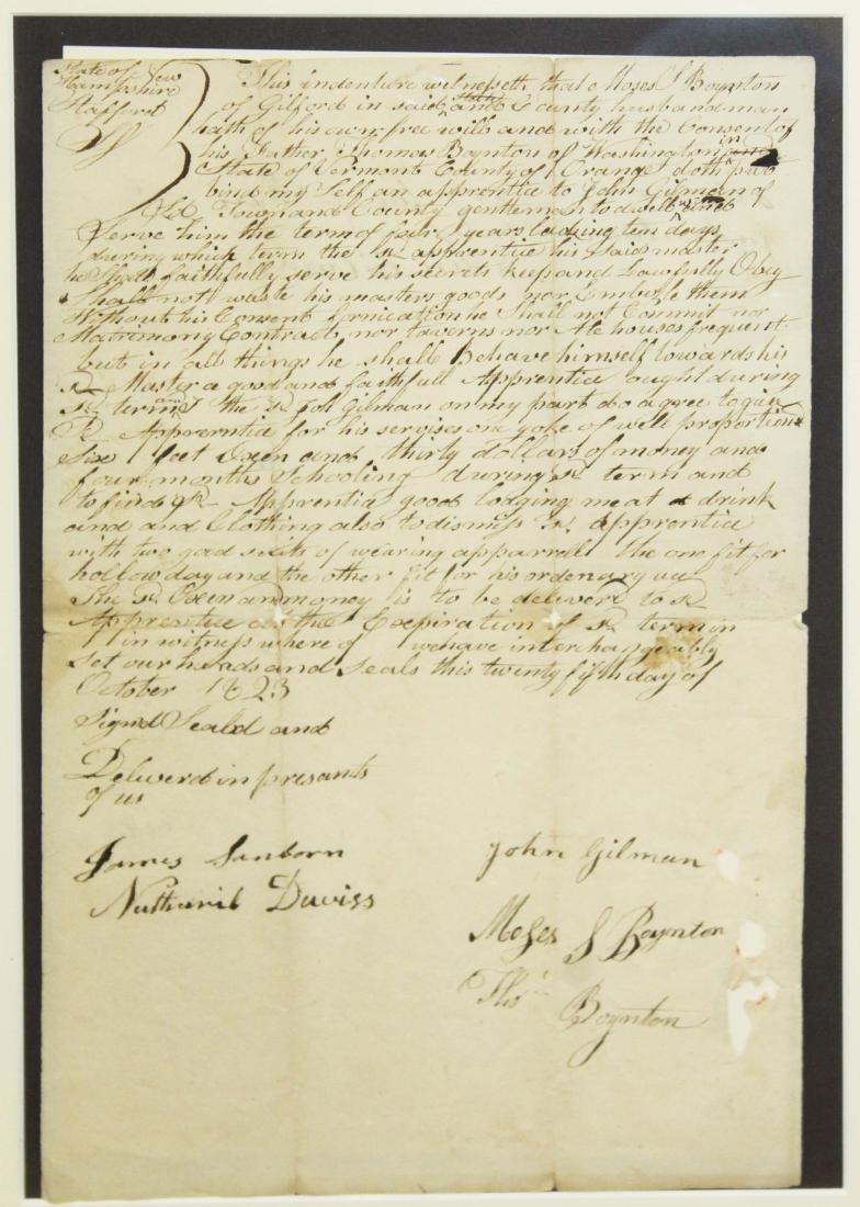 1823 Moses Boynton apprentice indenture