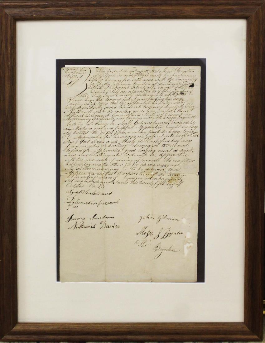 1823 Moses Boynton apprentice indenture - 2