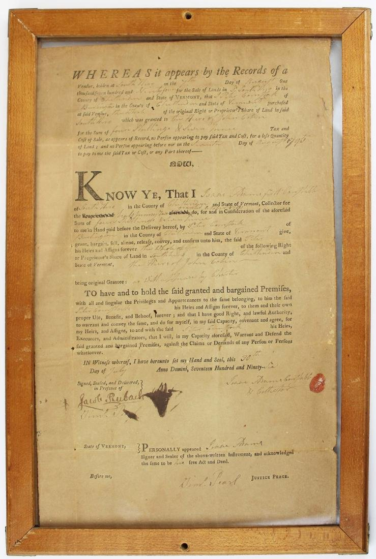 three ca 1795 South Hero, VT land deeds - 2