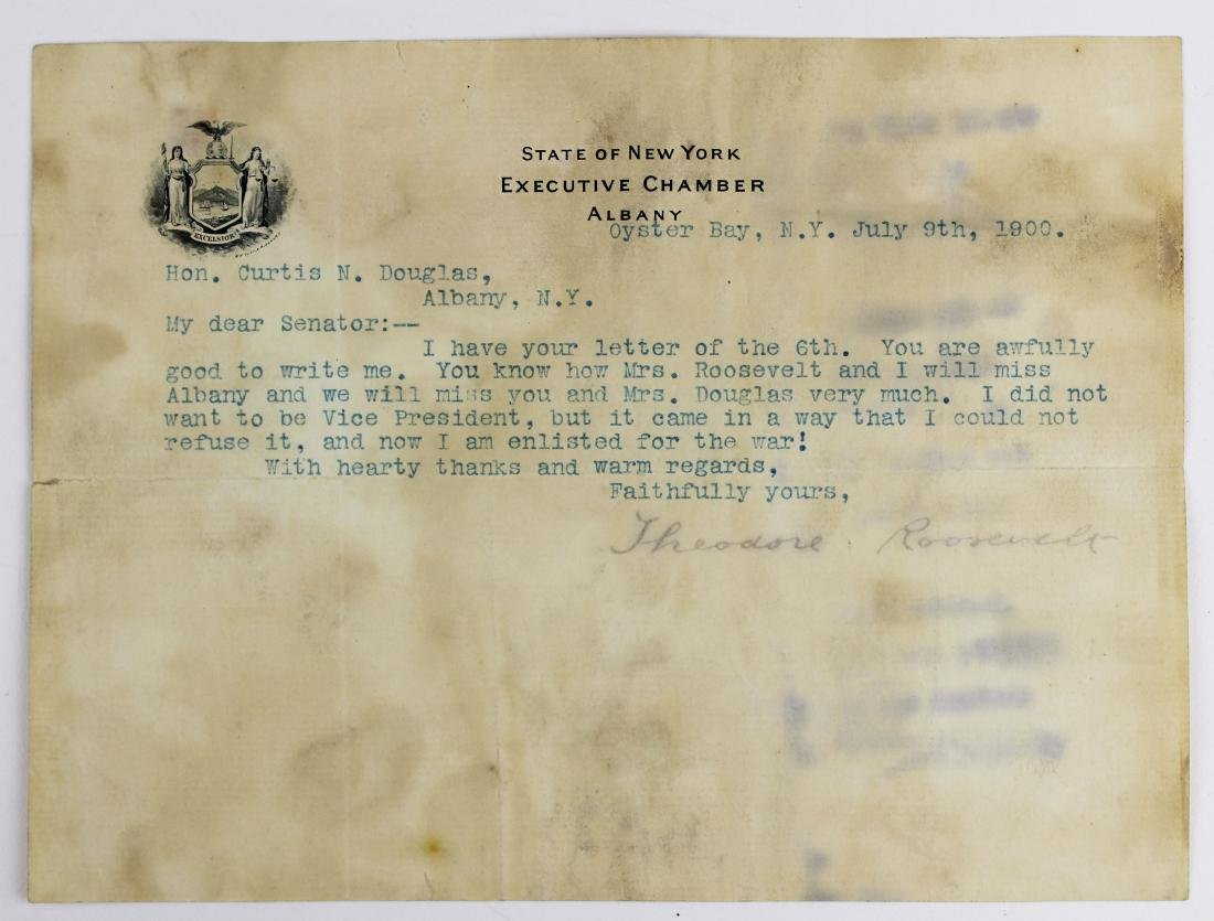 1900 Theodore Roosevelt typed letter signed