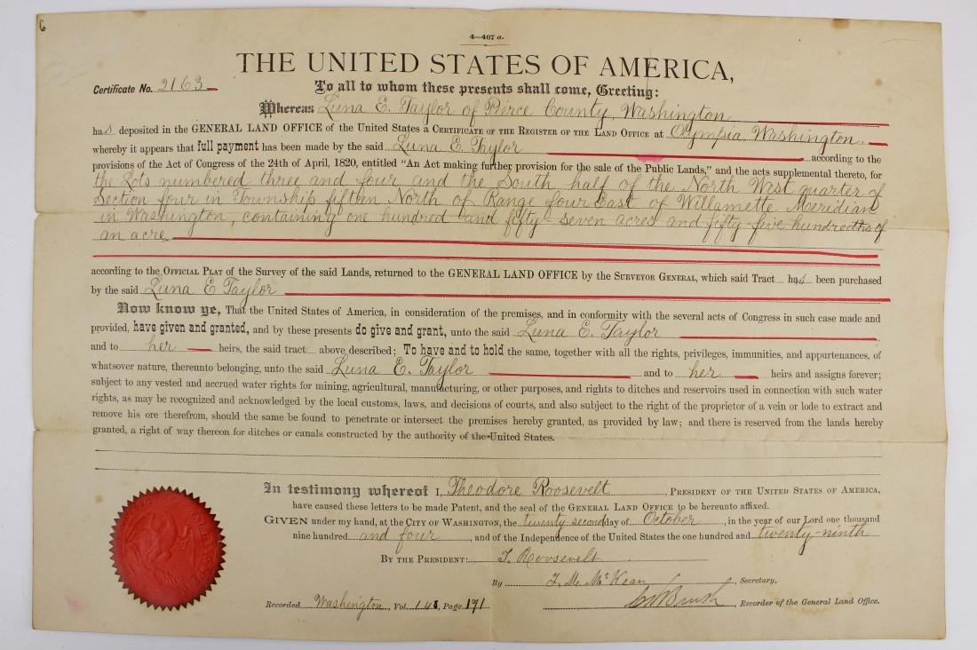 1904 Theodore Roosevelt US land grant