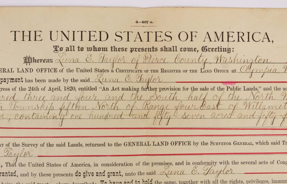 1904 Theodore Roosevelt US land grant - 3