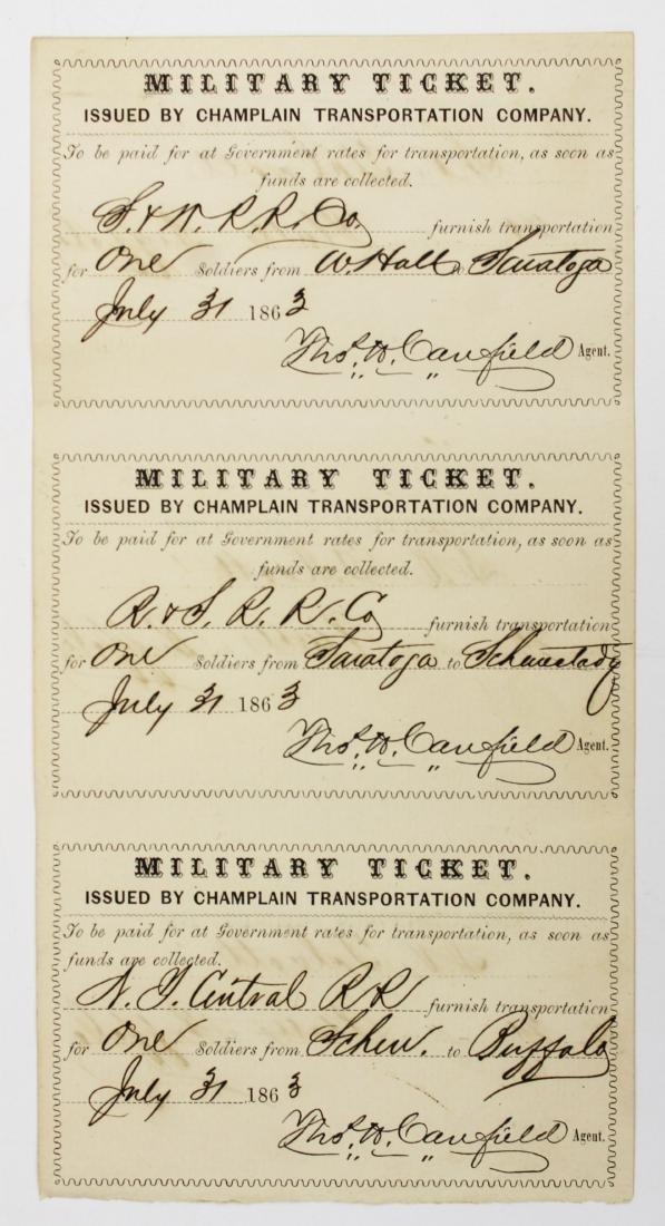 1863 VT Civil War transportation ticket