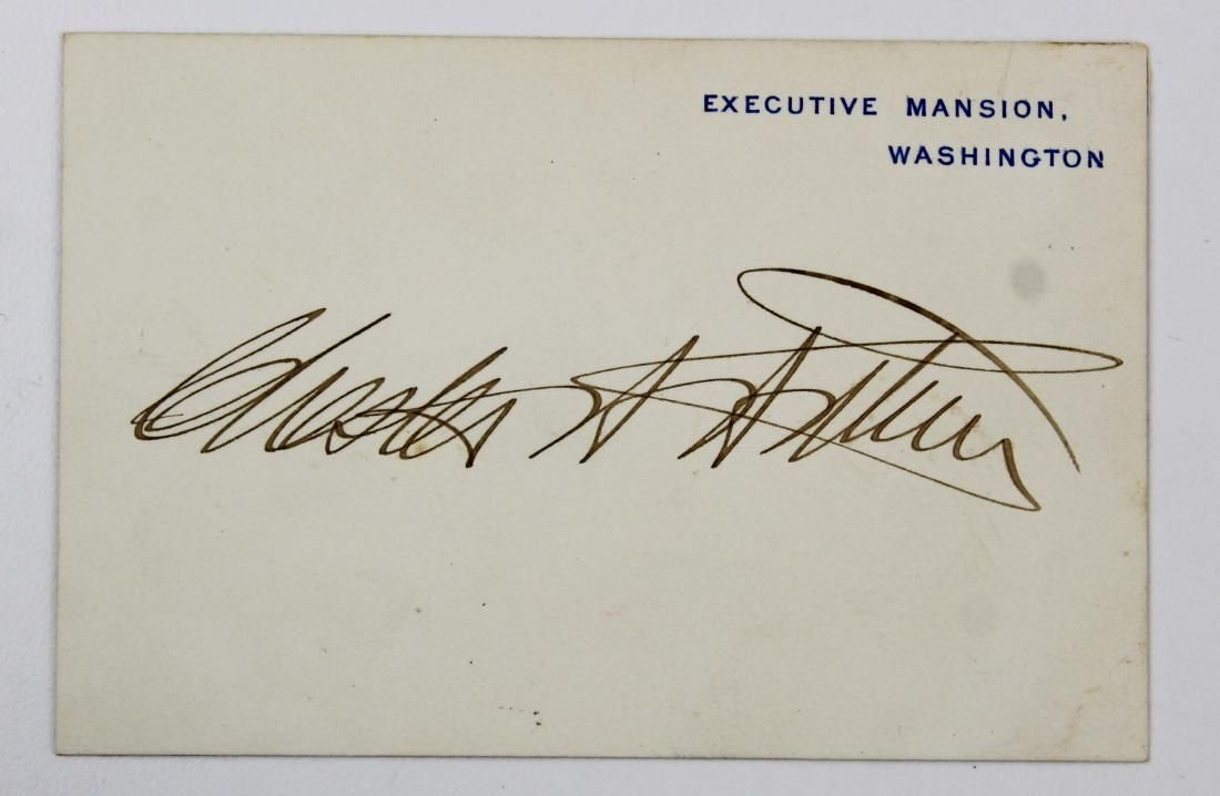 Chester A Arthur signed Executive Mansion