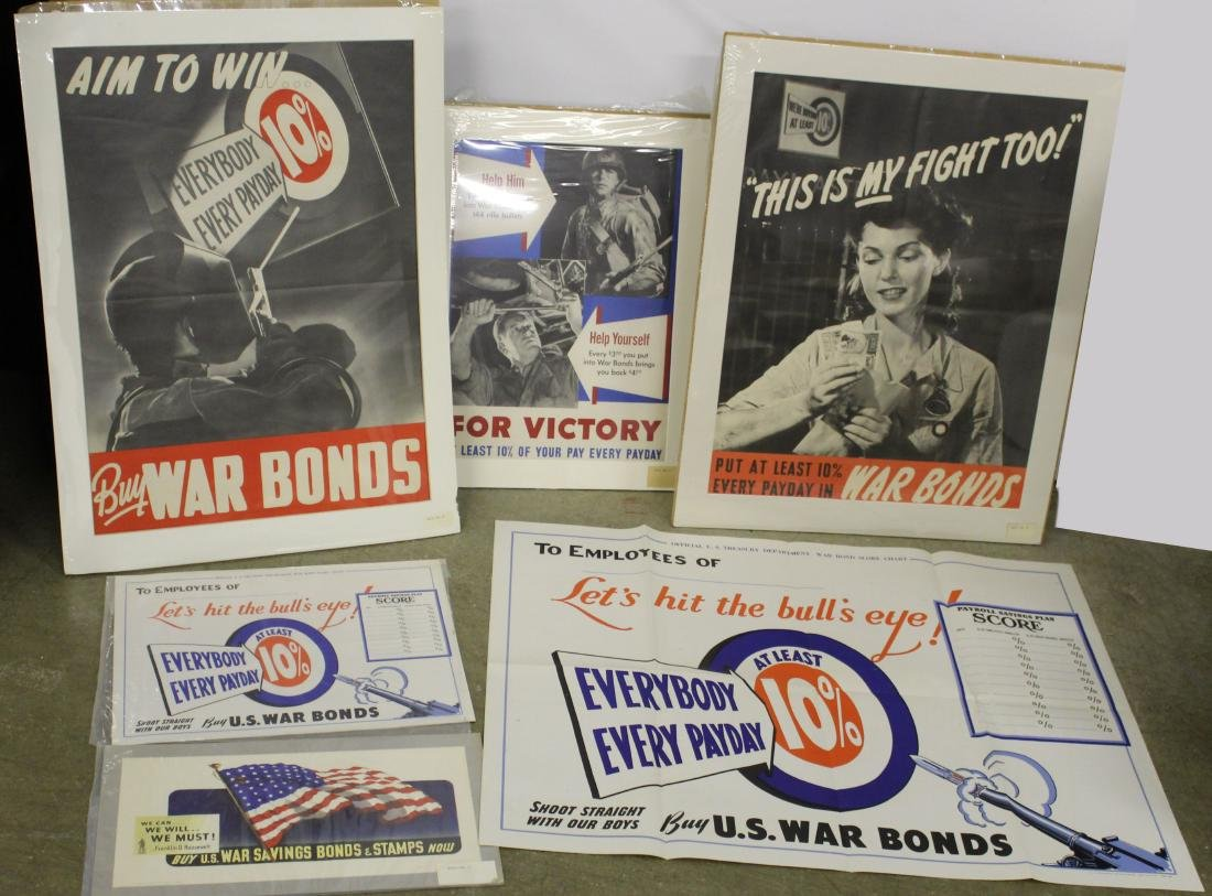 Six WWII War Bond posters