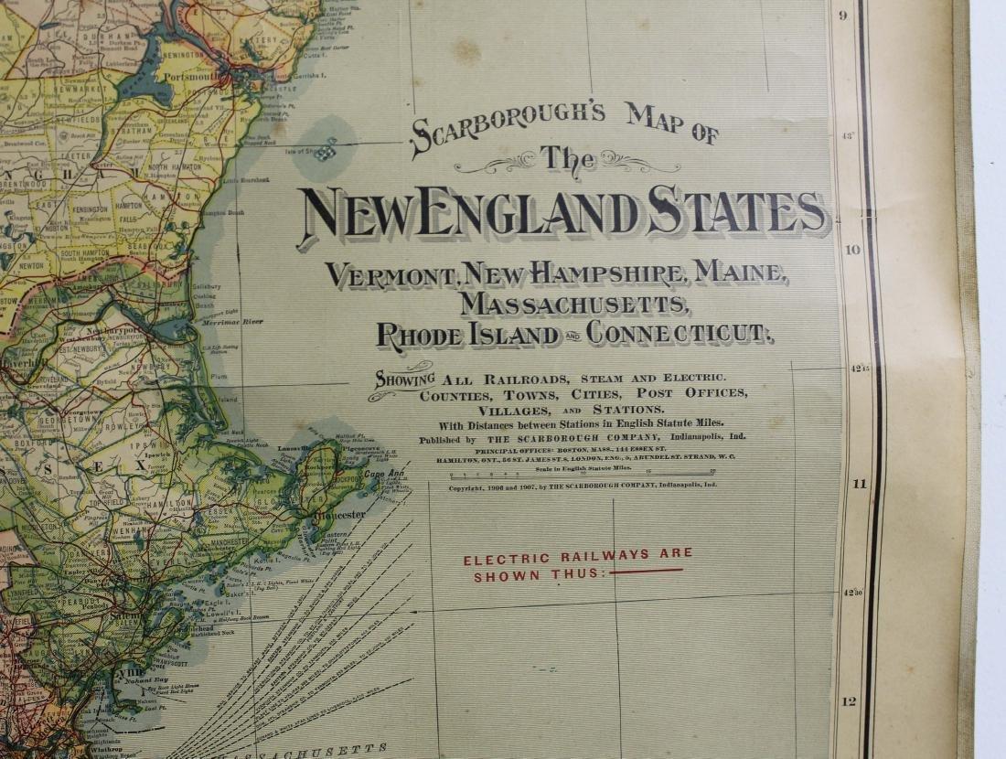 1907 Scarborough's Map of the NE States - 2